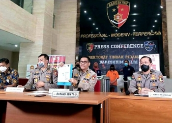 Jumpa pers terkait penangkapan tersangka penyebar hoax omnibus law | Ist