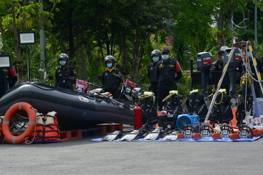 Apel kesiapsiagaan bencana berlangsung di Halaman Balai Kota Surabaya /Ist