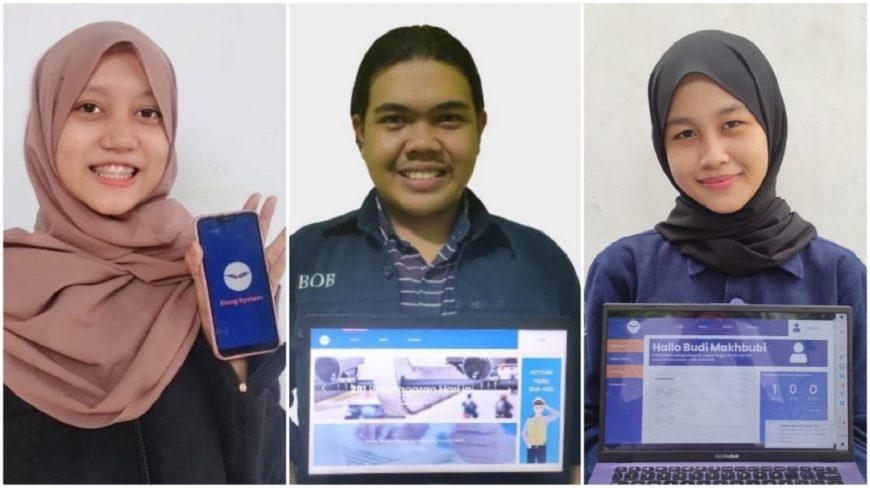 (dari kiri) Raisa Zahra Fadila, Muhammad Akbar Makhbubi, dan Tiara Hikmata Billah menunjukkan fitur yang ada pada Elang System /Ist