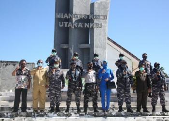 Satgas Operasi Bima Suci saat tiba di Pulau Miangas atau 0 KM Utara Indonesia /Ist