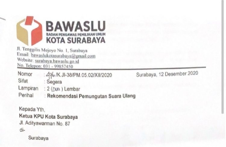 Foto tangkapan layar surat Bawaslu Surabaya terkait rekomendasi PSU /Ist