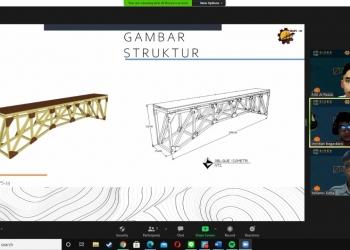 Para anggota tim MAPS-19 ITS saat mempresentasikan secara virtual jembatan karyanya pada ajang Dynamic Load Bridge Competition (DLBC) 2020 /Ist