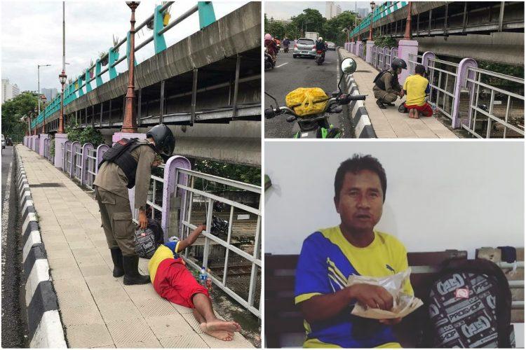 Pria asal Pekan Baru, Riau yang sedang mencari kerabatnya di Surabaya /source: instagram @satpolppsurabaya