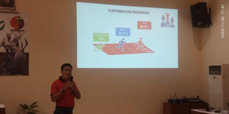 Peneliti SSC saat memaparkan hasil penelitiannya/bicasurabaya.com