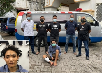 Tersangka saat diamankan anggota Jatanras Polrestabes Surabaya /Ist