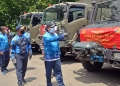Bantuan yang diserahkan ini terdiri dari 12 truk berisi bahan makanan dan perlengkapan /dok. Dispen Kormar