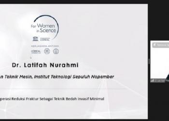 Dr Latifah Nurahmi saat mendapatkan penghargaan dari L'Oreal UNESCO for Women in Science 2020 pada akhir November lalu /Ist