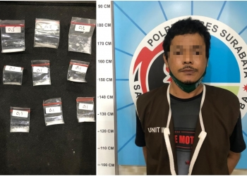 Pelaku beserta barang bukti saat diamankan di Mapolrestabes Surabaya /Ist