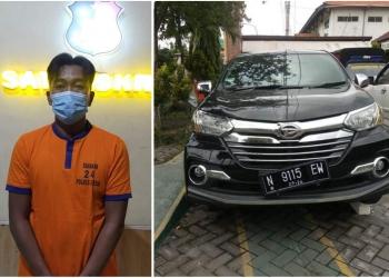 Pelaku M. Sukriyadi (38), beserta unit kendaraan dengan plat nomor palsu yang berhasil diamankan petugas kepolisian /Ist
