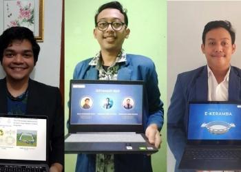 (dari kiri) Hanif Srisubaga Alim, Alfiyan Rizki Maulidan, dan Fakhri Ihsan Nalendro memperkenalkan inovasi E-Keramba /Ist
