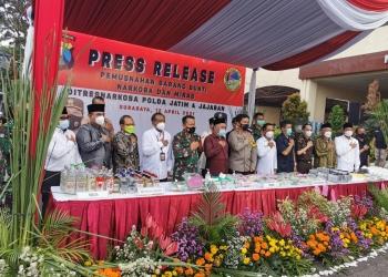 Konferensi pers ungkap kasus di wilayah Jatim selama bulan Januari - Maret 2021 /Ist